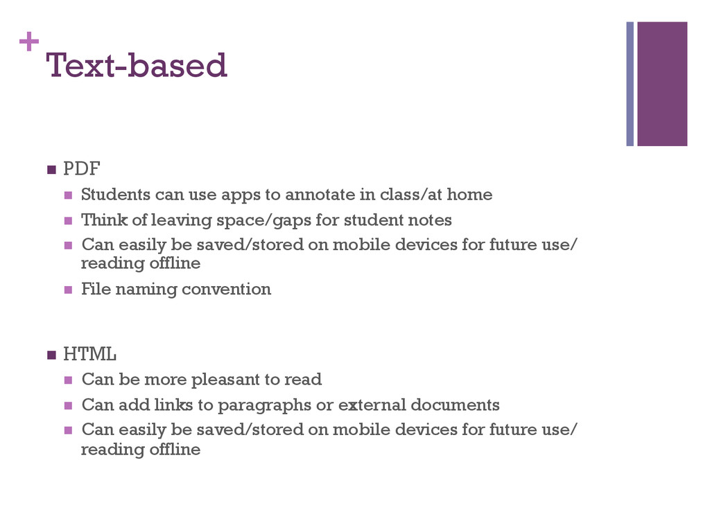 + Text-based n PDF n Students can use apps ...