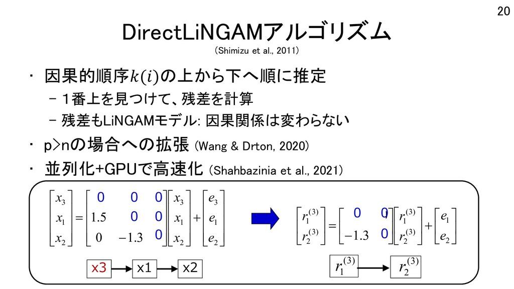 DirectLiNGAMアルゴリズム (Shimizu et al., 2011) • 因果的...