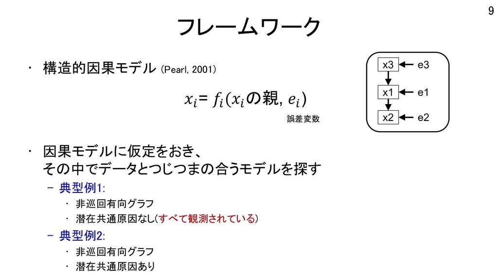 フレームワーク • 構造的因果モデル (Pearl, 2001) • 因果モデルに仮定をおき、...