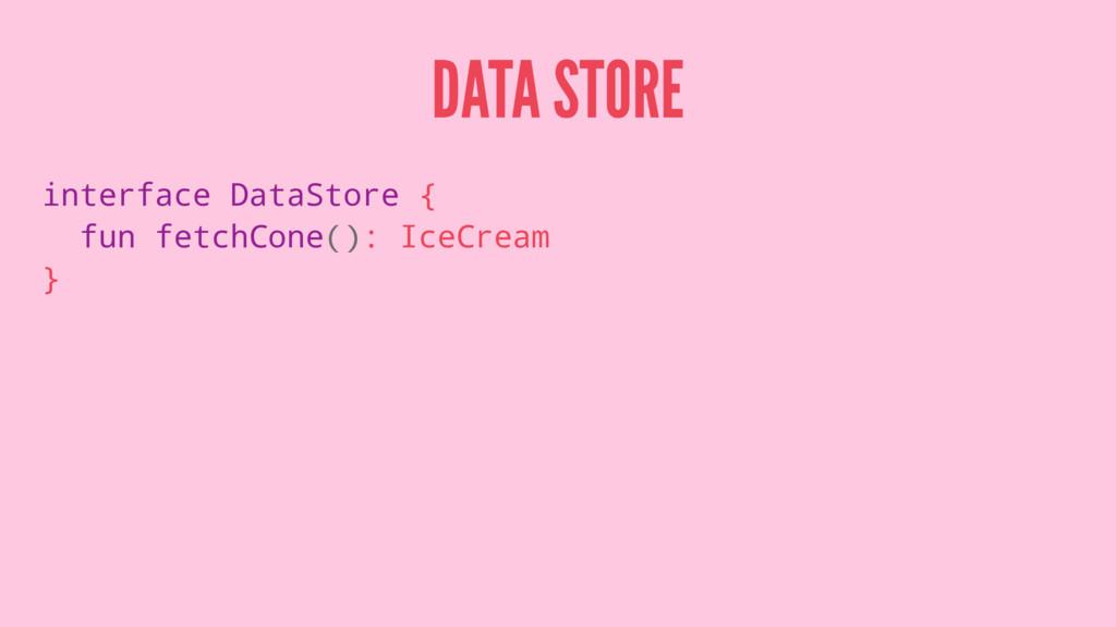 DATA STORE interface DataStore { fun fetchCone(...