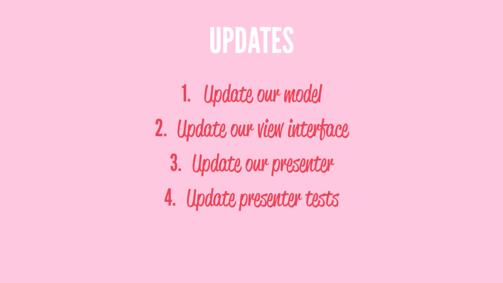 UPDATES 1. Update our model 2. Update our view ...