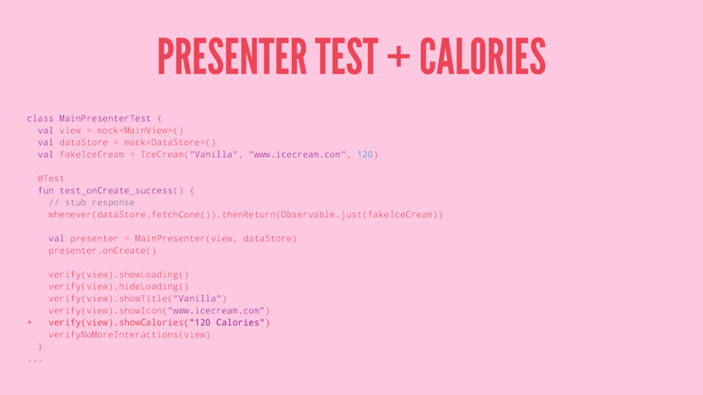 PRESENTER TEST + CALORIES class MainPresenterTe...