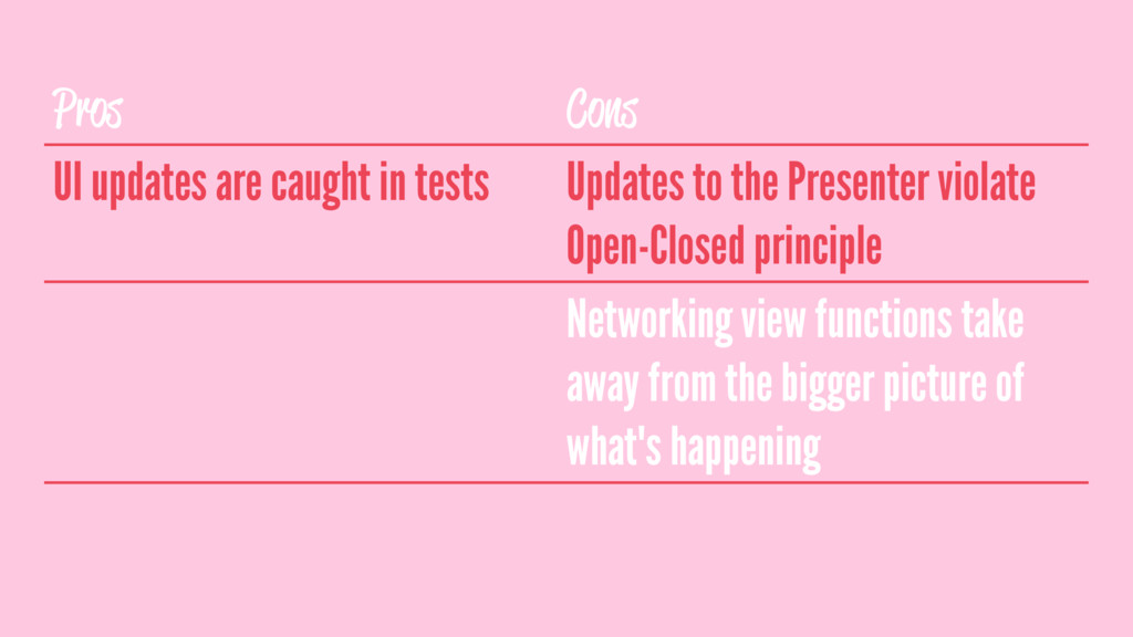 Pros Cons UI updates are caught in tests Update...