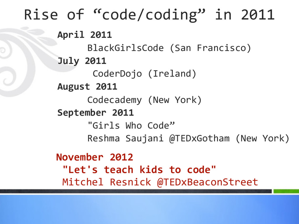 April 2011 BlackGirlsCode (San Francisco) July ...