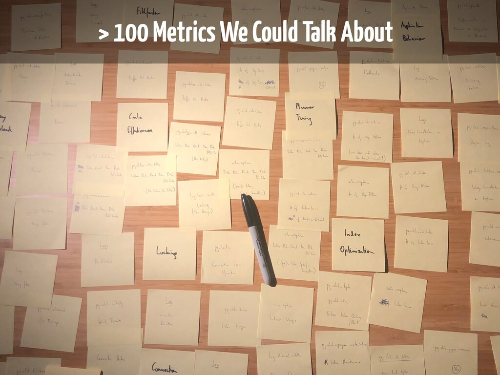 > 100 Metrics We Could Talk About > 100 Metrics...