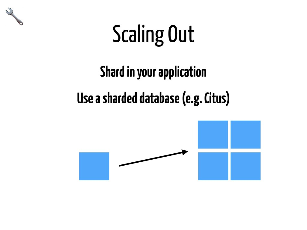 Scaling Out Shard in your application Use a sha...