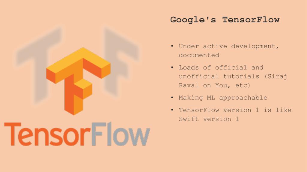 Google's TensorFlow • Under active development,...