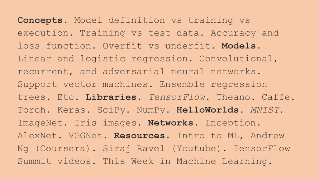 Concepts. Model definition vs training vs execu...