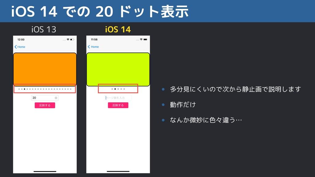 iOS 14 での 20 ドット表示 • 多分見にくいので次から静止画で説明します • 動作だ...