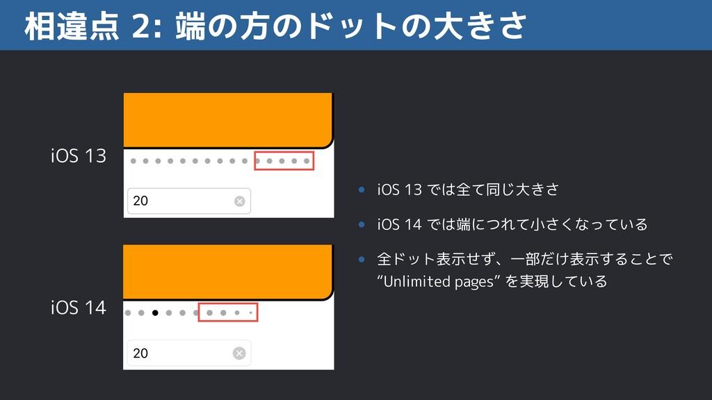 相違点 2: 端の方のドットの大きさ iOS 13 iOS 14 • iOS 13 では全て同...