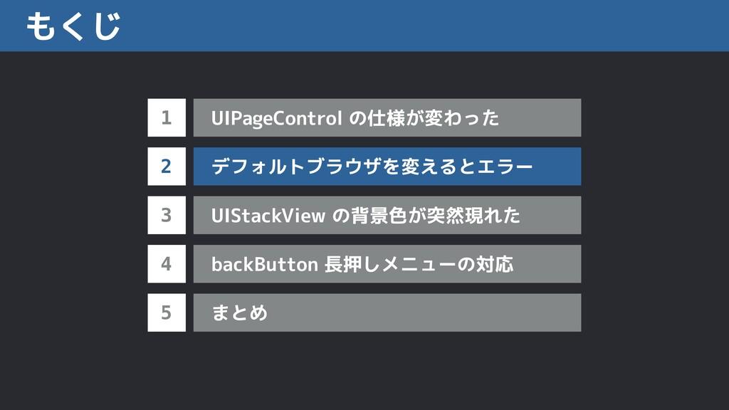 もくじ 1 2 3 UIPageControl の仕様が変わった 4 デフォルトブラウザを変え...