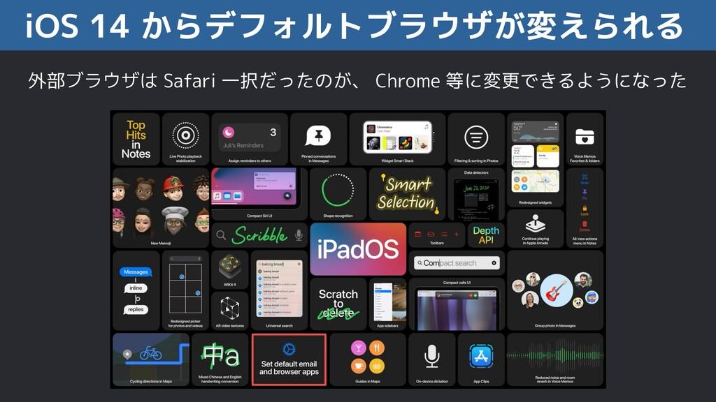 iOS 14 からデフォルトブラウザが変えられる 外部ブラウザは Safari 一択だったのが...