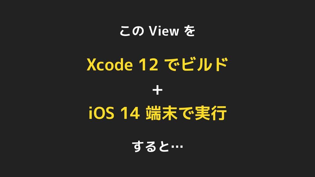 この View を Xcode 12 でビルド + iOS 14 端末で実行 すると…