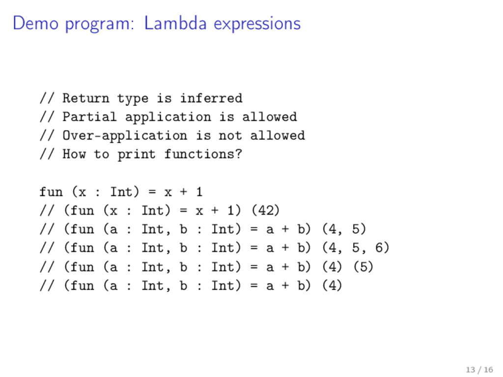 Demo program: Lambda expressions // Return type...
