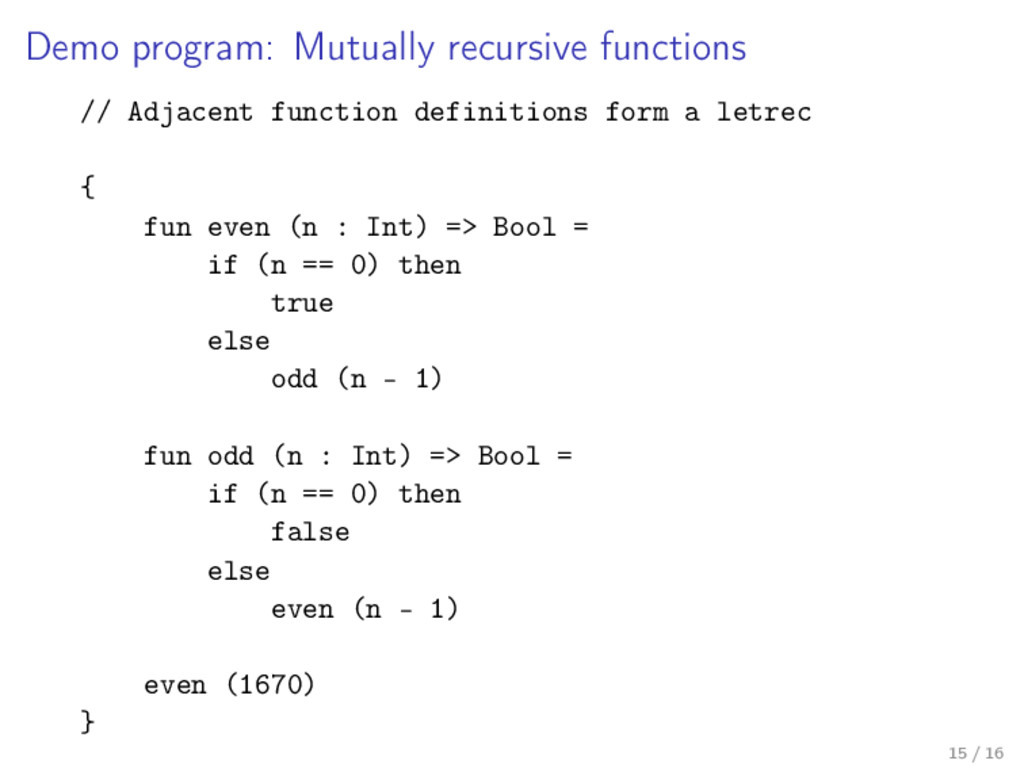 Demo program: Mutually recursive functions // A...