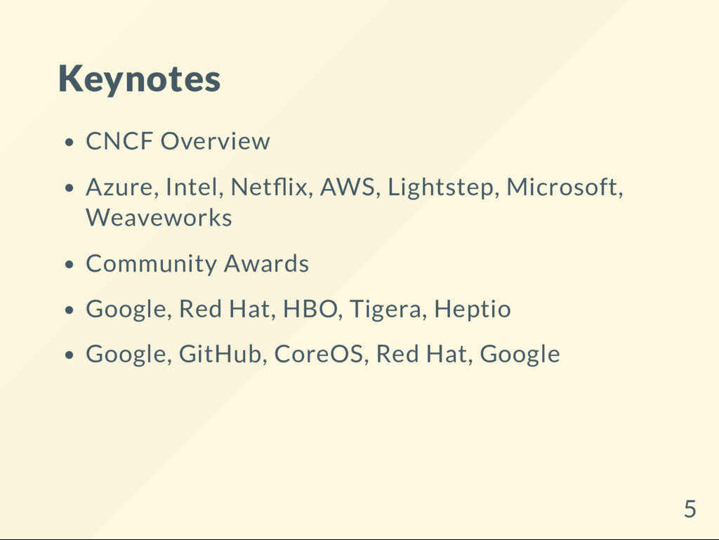 Keynotes CNCF Overview Azure, Intel, Net ix, AW...