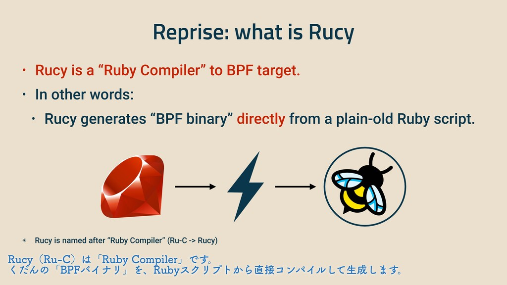"""Reprise: what is Rucy • Rucy is a """"Ruby Compile..."""