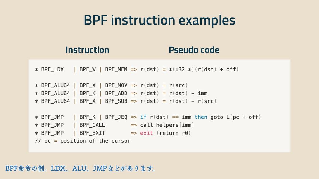 BPF instruction examples Instruction Pseudo cod...