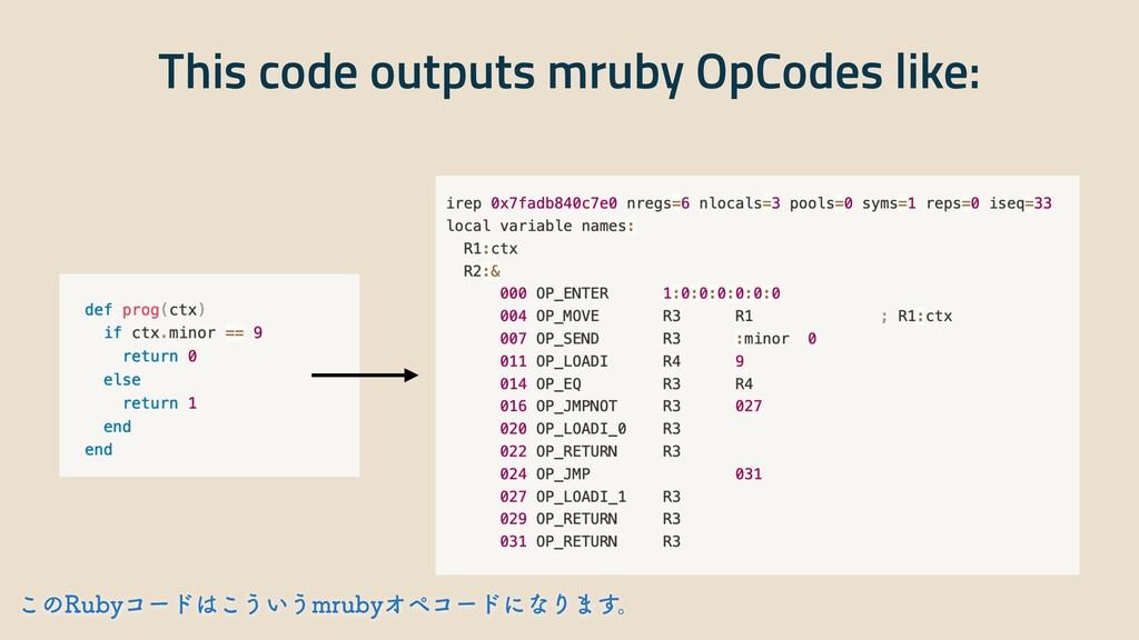 This code outputs mruby OpCodes like: ͜ͷ3VCZίʔυ...