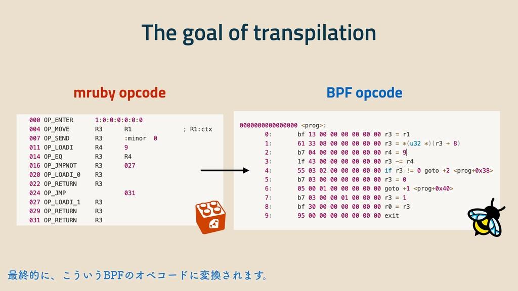 The goal of transpilation mruby opcode BPF opco...