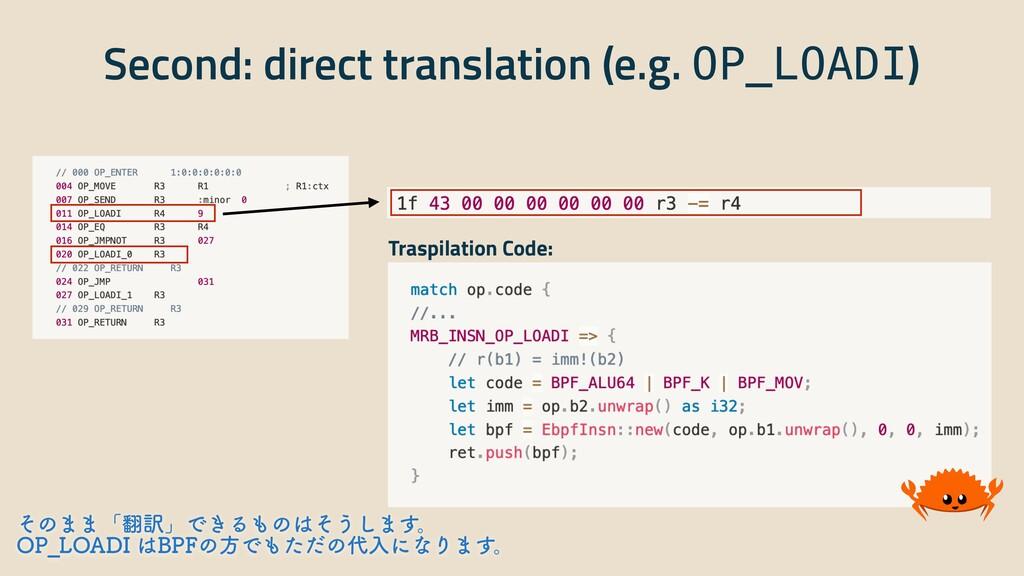 Second: direct translation (e.g. OP_LOADI) Tras...