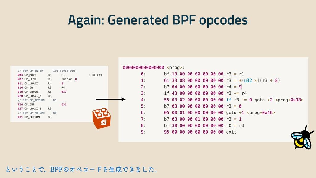 Again: Generated BPF opcodes ͱ͍͏͜ͱͰɺ#1'ͷΦϖίʔυΛੜ...