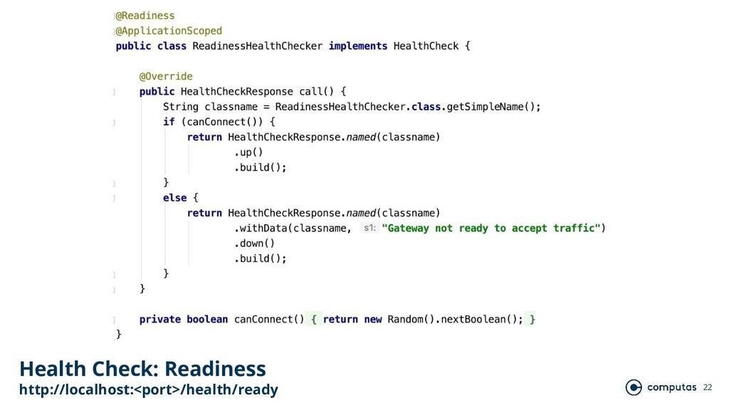 22 Health Check: Readiness http://localhost:<po...