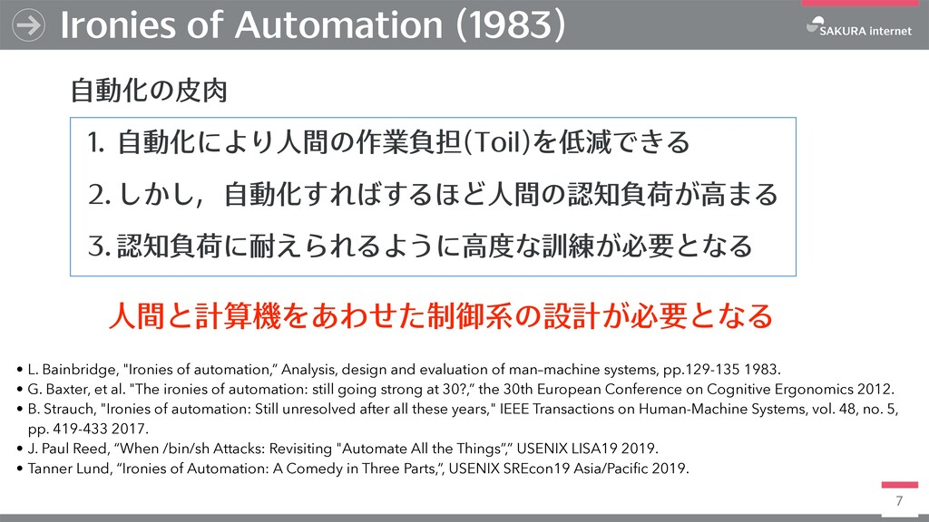 7 Ironies of Automation (1983) ⾃動化の⽪⾁ 1. ⾃動化により...