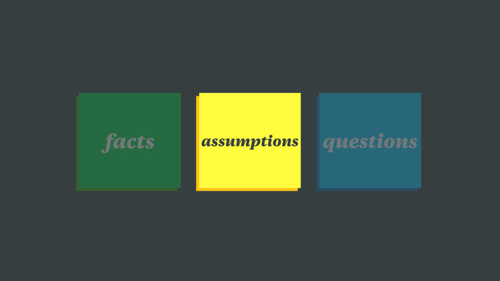 assumptions questions facts
