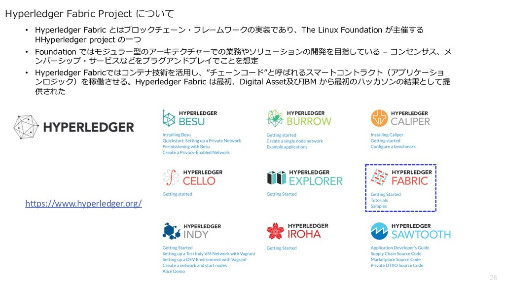 26 Hyperledger Fabric Project について • Hyperledge...