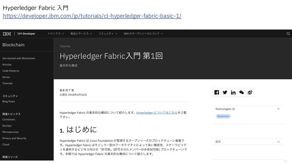 35 Hyperledger Fabric ⼊⾨ https://developer.ibm....