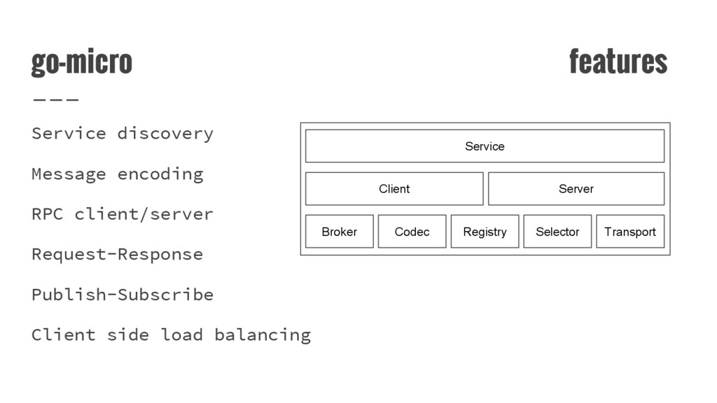 go-micro features Service discovery Message enc...