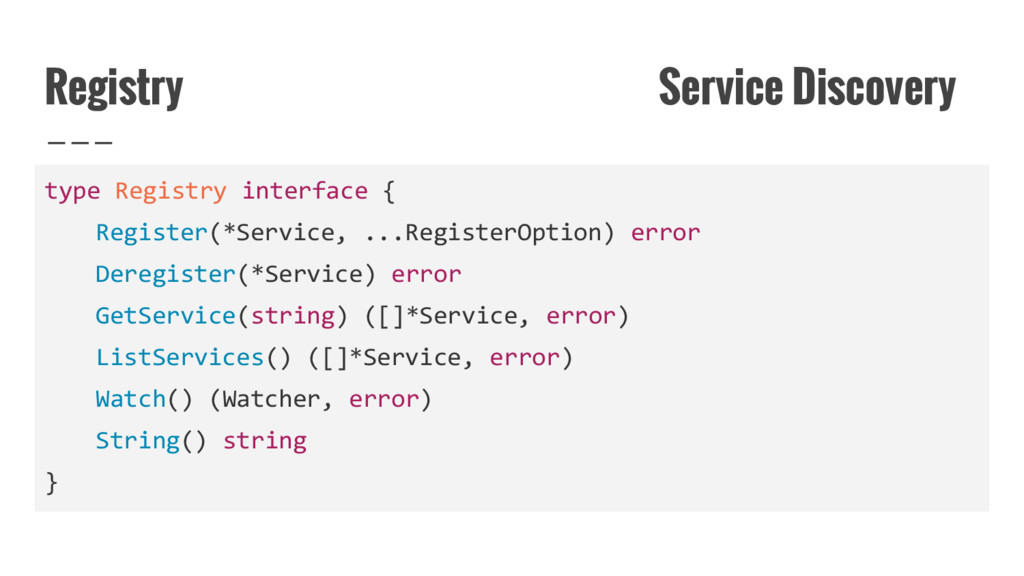 Registry Service Discovery type Registry interf...