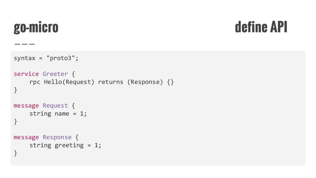 """go-micro define API syntax = """"proto3""""; service ..."""