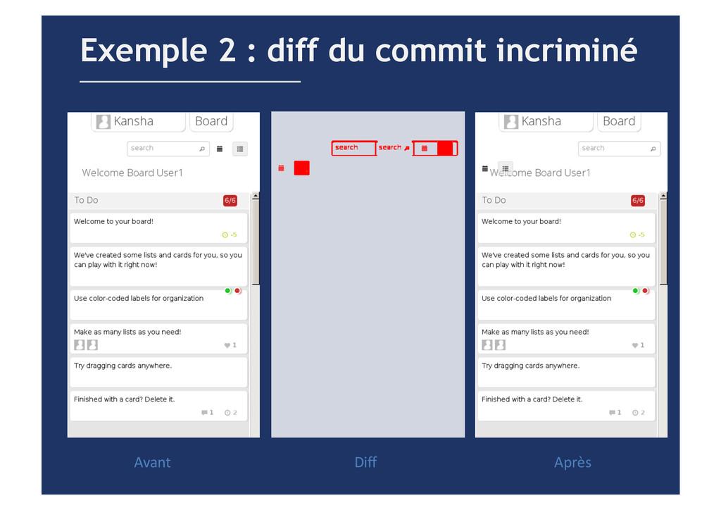 Exemple 2 : diff du commit incriminé Avant  ...