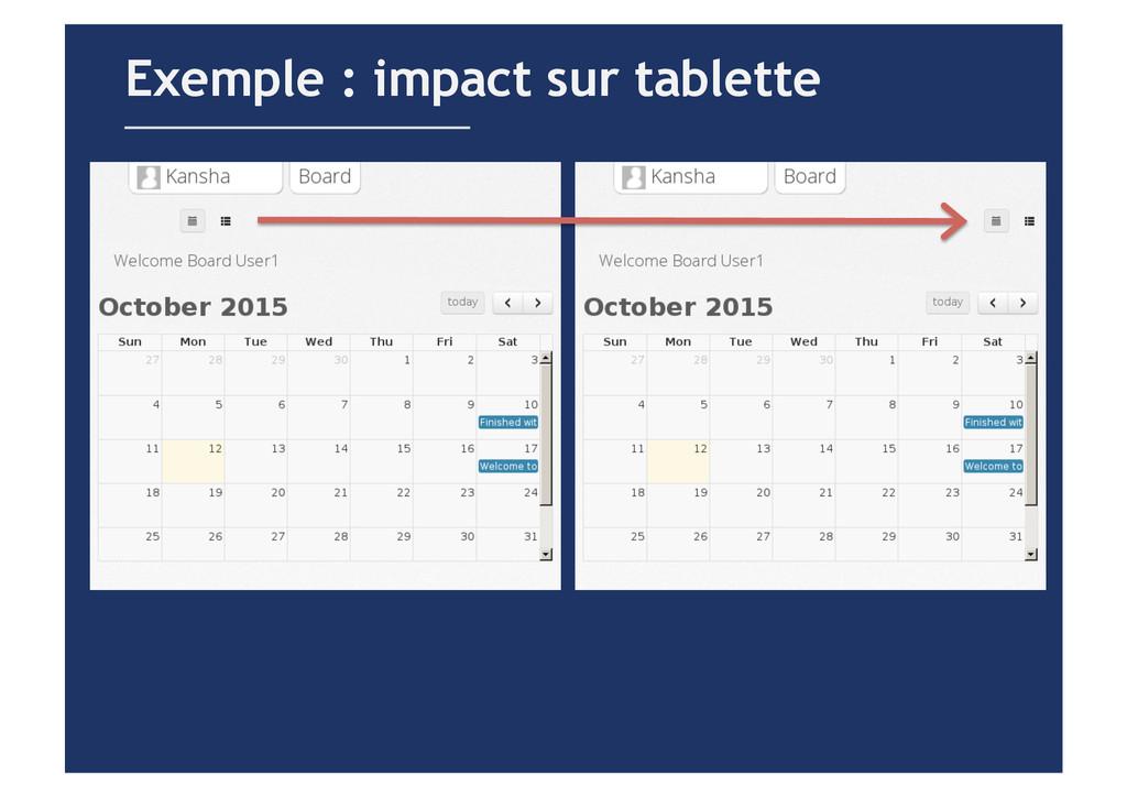 Exemple : impact sur tablette