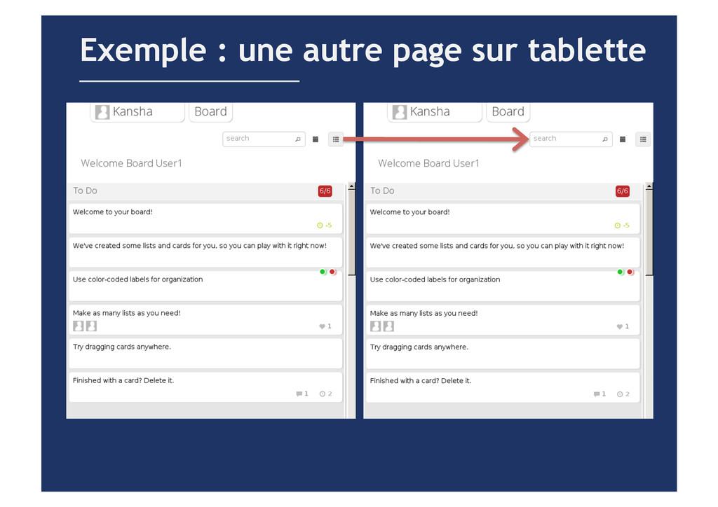 Exemple : une autre page sur tablette