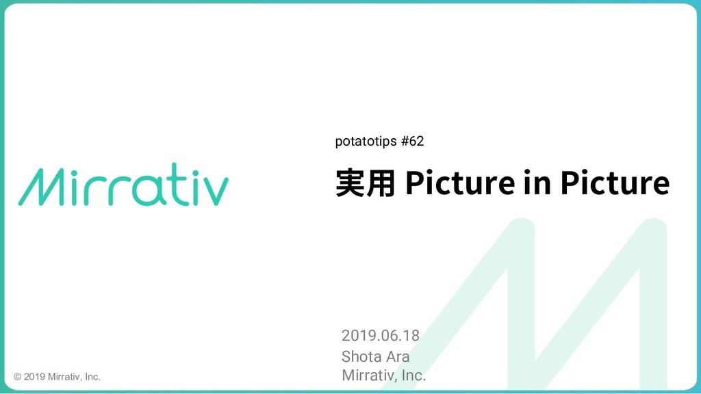 実⽤ Picture in Picture 2019.06.18 Shota Ara Mirr...