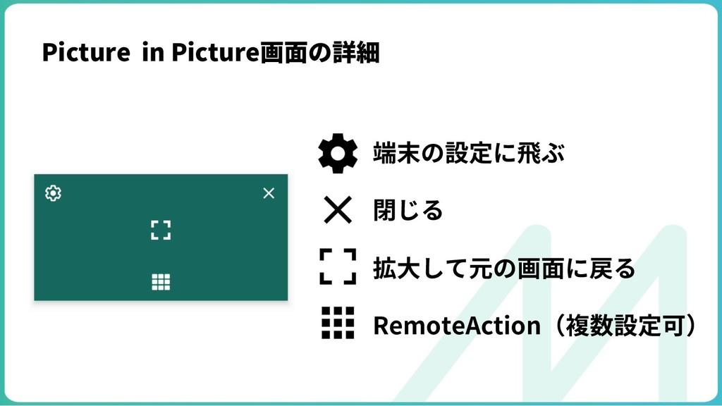 端末の設定に⾶ぶ 閉じる 拡⼤して元の画⾯に戻る RemoteAction(複数設定可) Pi...