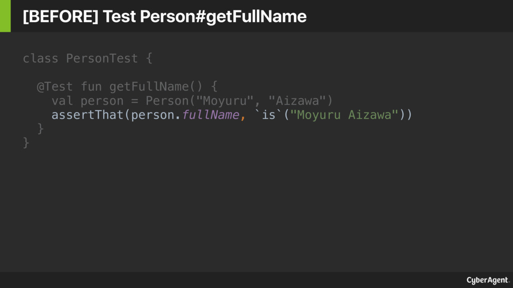 class PersonTest { @Test fun getFullName() { va...