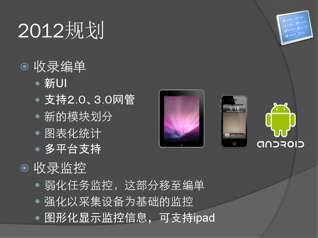 2012规划 ž 收录编单 — 新UI — 支持2.0、3.0网管 — 新的模...