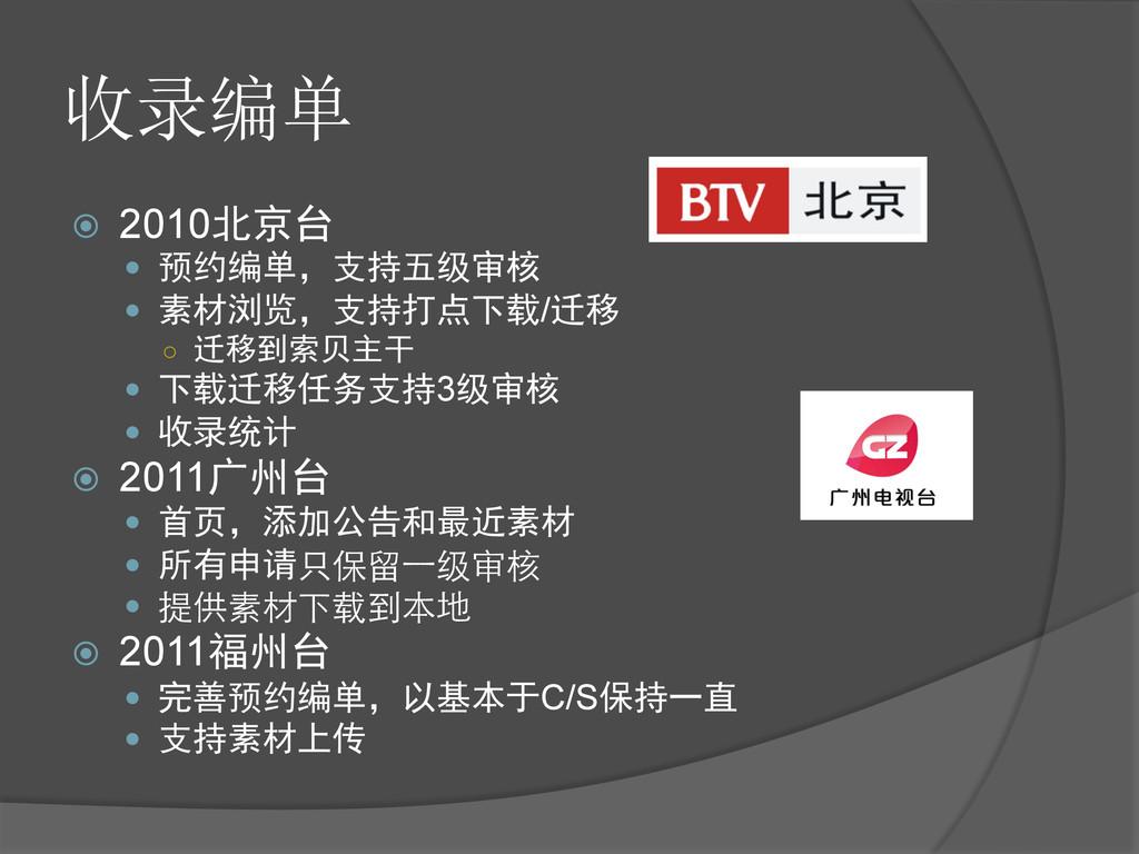 收录编单 ž 2010北京台 — 预约编单,支持五级审核 — 素材浏览,支持打点下...