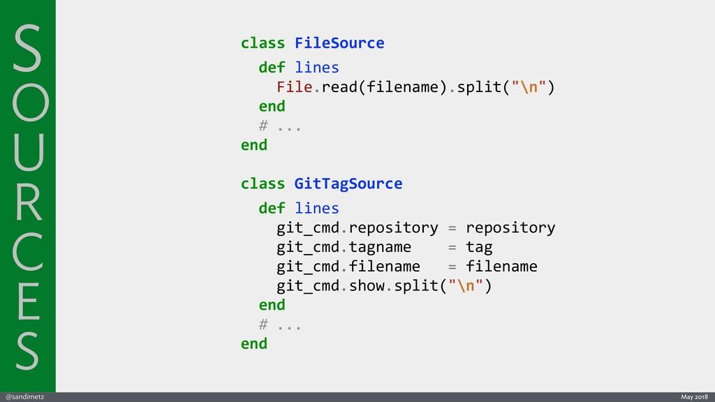 @sandimetz May 2018 class FileSource def lines ...