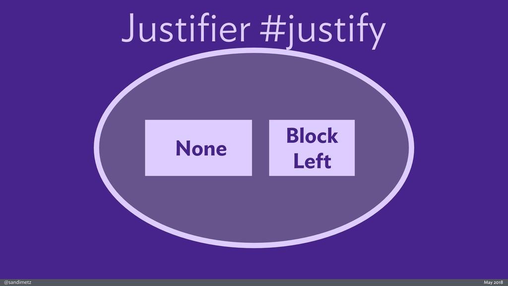 @sandimetz May 2018 Justifier #justify None Bloc...
