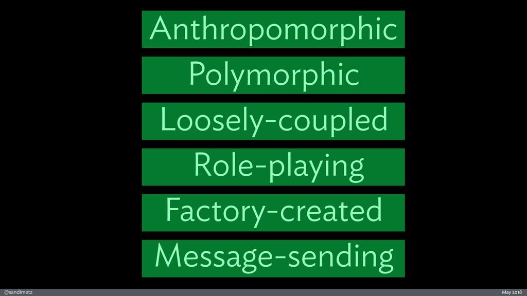 @sandimetz May 2018 Anthropomorphic Polymorphic...