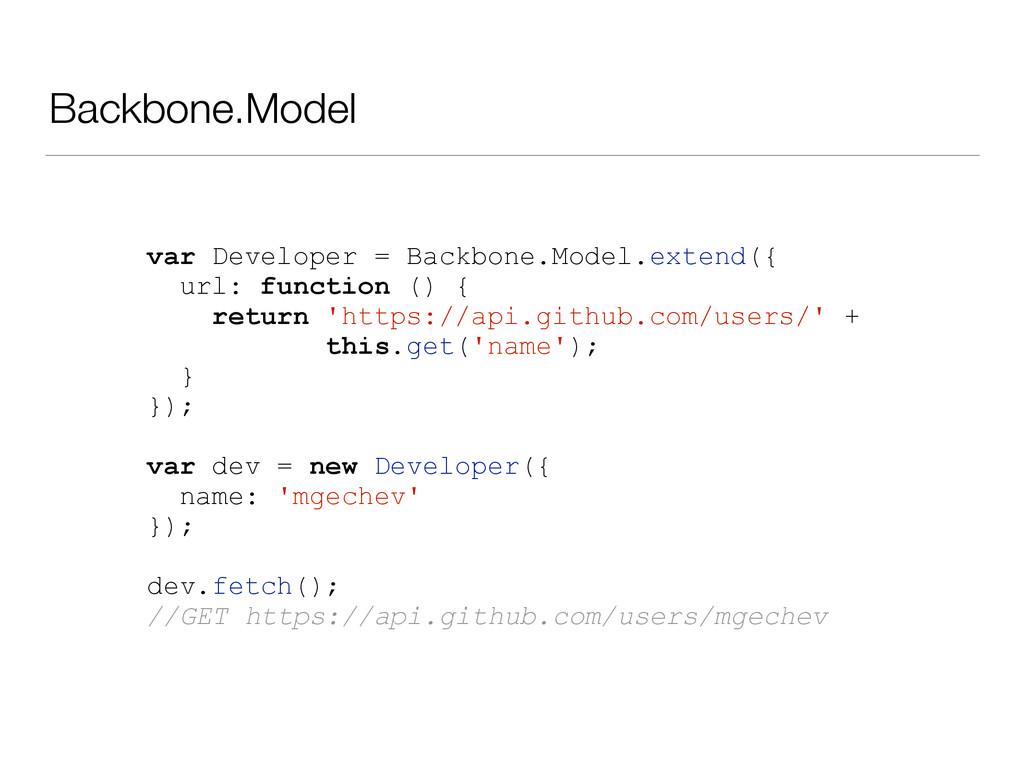 Backbone.Model var Developer = Backbone.Model.e...