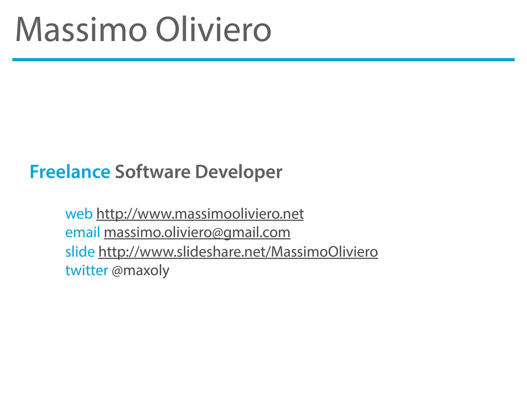 Massimo Oliviero Freelance Software Developer w...