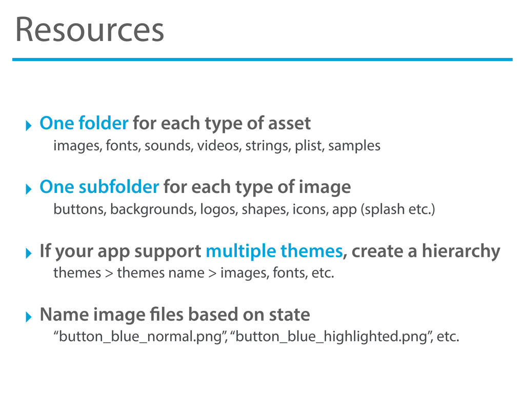 Resources ‣ One folder for each type of asset i...