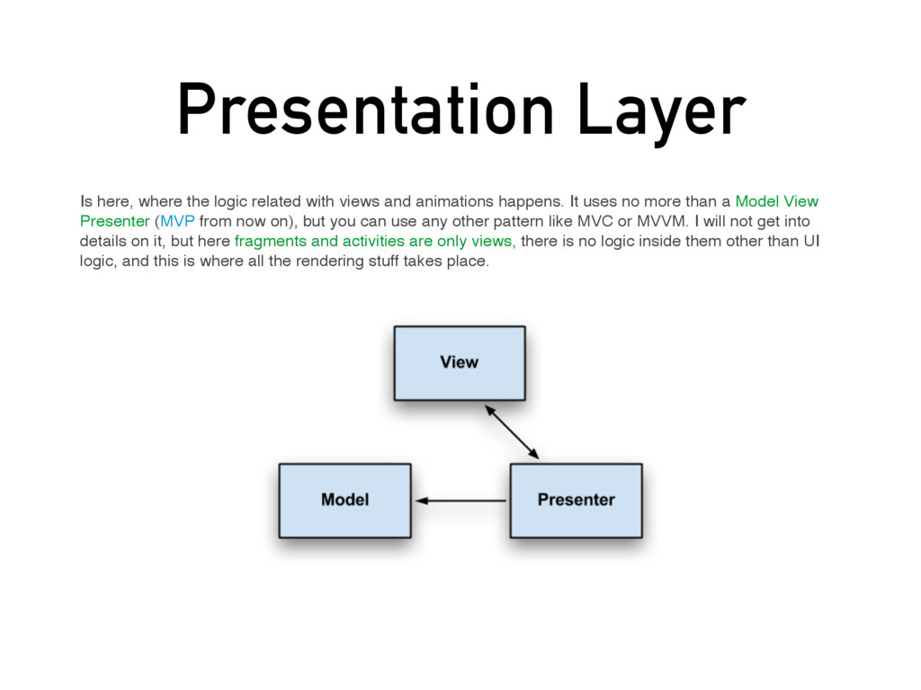 Presentation Layer Is here, where the logic rel...