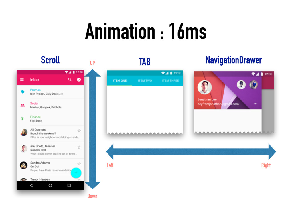 Animation : 16ms UP Down TAB NavigationDrawer R...